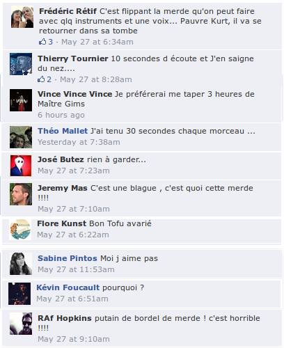commentaires sur la face de book de New Noise